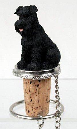 (Schnauzer Black Uncropped Wine Bottle Stopper - DTB103A)