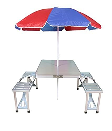 KRIS TOY Aluminium Portable Folding Picnic Table and Chairs Set with Umbrella (Silver)
