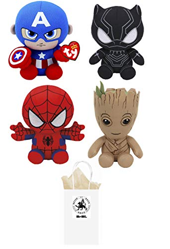 ReBL LLC TY Stuffed Plush Animals Toys Captain America, Black Panther, Spiderman & Groot with Gift Bag
