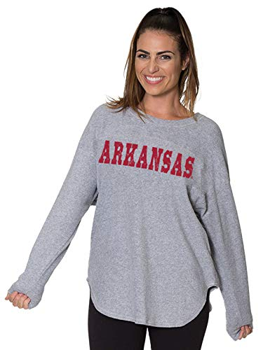 (Flying Colors NCAA Women's Loose Fit Game Day Sherpa Fan Jersey Pullover with Comfortable Long Sleeves (Arkansas Razorbacks,)
