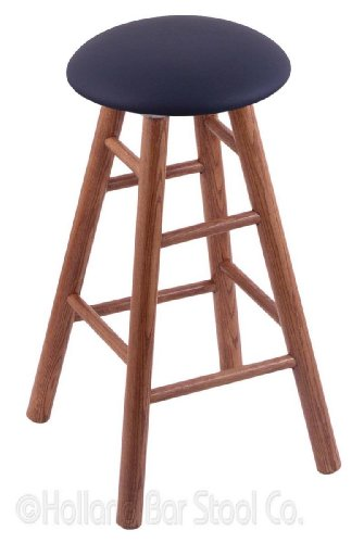 Oak Extra Tall Bar Stool in Medium Finish with Allante Dark Blue Seat