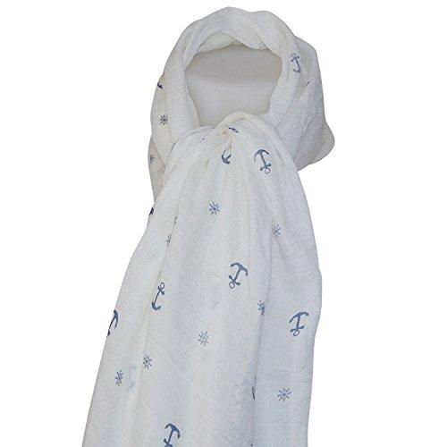 4a7664e36031b Foulard blanc ancre marine: Amazon.fr: Vêtements et accessoires