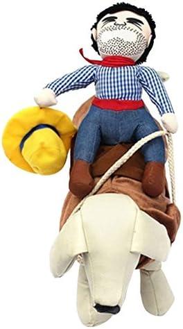 JIESD-Z® Riding Puppies Ropa, Divertida Fiesta Perro Camisa llamativa Cowboy Rider Mascota Novedad Disfraz muñeca de Vestir para Teddy, Pomeranian, Corgi, Bichon Frize(M): Amazon.es: Productos para mascotas