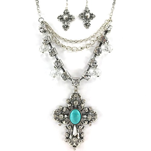 Western Cross Necklace (Western Collection Turquoise Cross Pendant Charms Stones Rhinestone Chain Necklace Earrings (1))