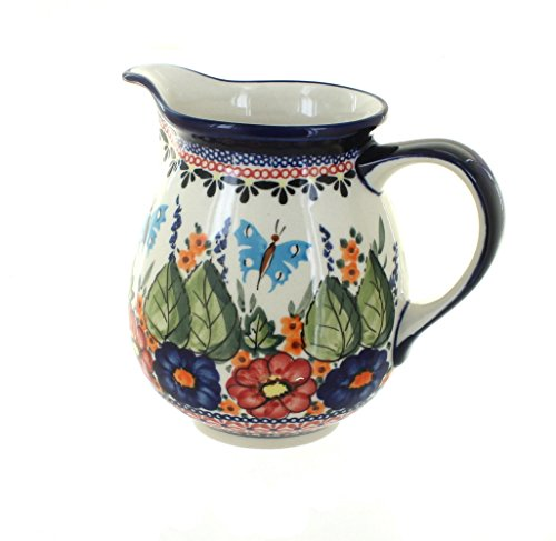 Blue Rose Polish Pottery Floral Butterfly Small Pitcher