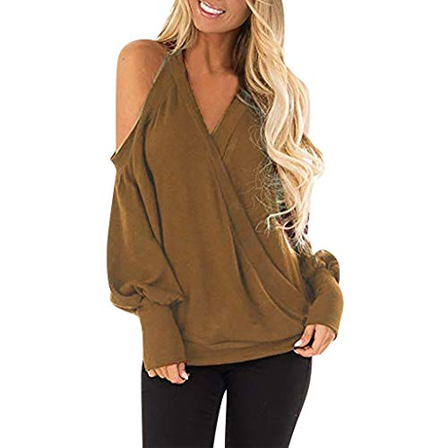 (Sunhusing Women's Casual Round Neck Off-Shoulder Solid Color Long-Sleeve Pullover Sweatshirt Tunic Tops )