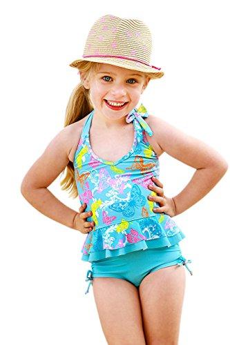 Baby Girls Frill Tankini Set-Ruched Boyleg Set - Frill Tankini Set