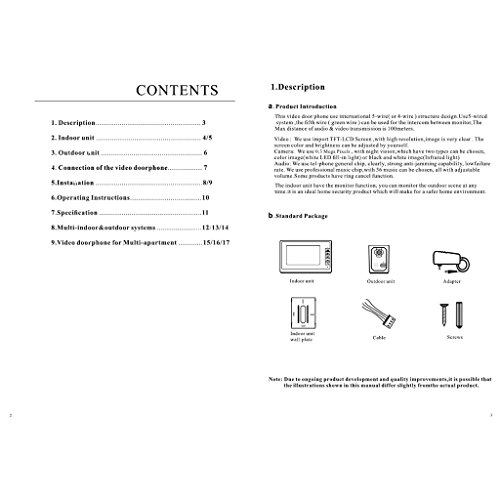 Blesiya 7inch LCD Camera Video Doorbell Intercom Monitor Safety US Standard - Black by Blesiya (Image #9)