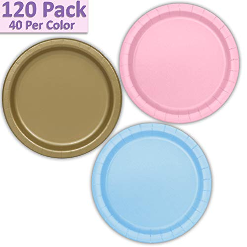 "120 Paper Dessert Plates (7"") - Light Pink, Gold, Light Blue - 40 Per Color, 3 Colors - Great Assortment for Birthday Parties, Weddings, Holidays, Baby Shower, Celebrations, and more"