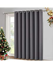 NICETOWN Vertical Blinds for Sliding Door - Living Room Wide Curtain Thermal Insulated Blackout Curtain for Home Decor (1 Panel, 100 by 84 Inches, Gray)