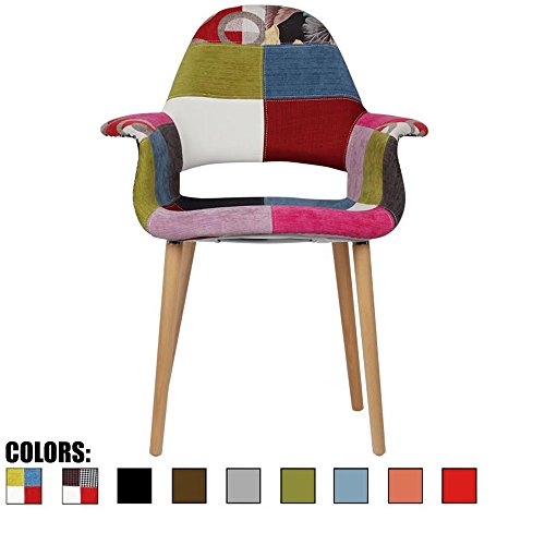 2xhome Ann – Patchwork Patterned Mid Century Modern Upholstered Fabric Organic Accent Living Room Dining Chair Armchair Set With Back Armrest Natural Wood Wooden Legs for Kitchen Bedroom