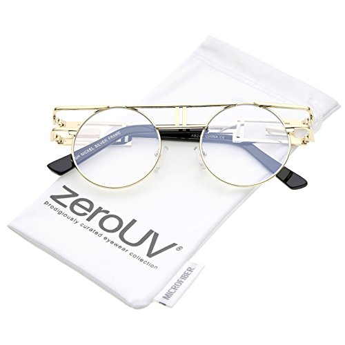 zeroUV - Steampunk Open Metal Round Glasses With Brow Bar And Flat Lens 47mm (Gold / Clear) (Brow Bar)