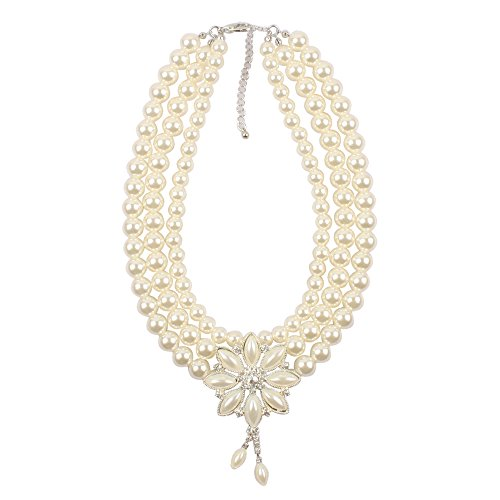 KOSMOS-LI Fashion Simulated Pearl 3 Layer Choker Bridal Jewelry Necklace with Earrings -