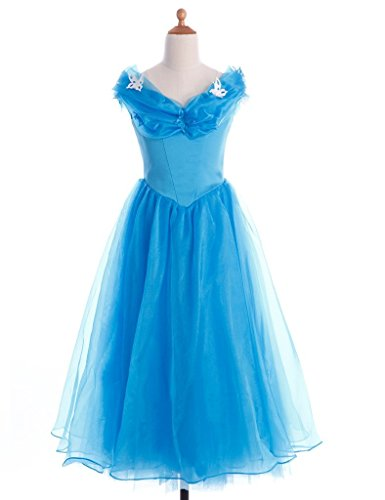 FAIRY COUPLE Girl's Princess Off Shoulder Formal Ball Gown Dress K0124 (10, Sky Blue) (Girls Jewel Princess Costume)