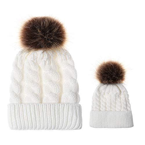 TWGONE Mom Baby Knitting Wool Hemming Hat Keep Warm Winter Fur Ball Hat Cap