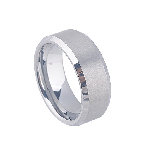 SIAWASE 8mm Tungsten Mens Wedding Band Ring in Matte Finished Center Polished Beveled Edge Comfort Fit