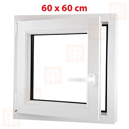 | wei/ß Dreh-Kipp-Fenster 6 Kammern 60x60 cm links 600x600 mm Kunststofffenster