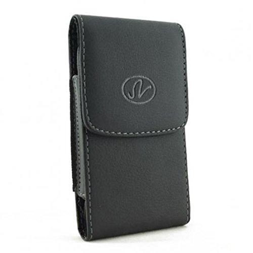Black Vertical Leather Phone Case Cover Pouch Belt Clip for Verizon HTC Droid DNA - Verizon HTC One - Verizon HTC One Mini 2 - Verizon HTC One Remix - Verizon HTC Rezound ()