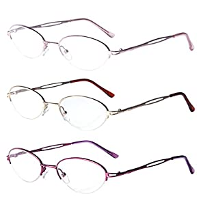 Liansan 3 Pairs Quality Ladies' Readers Metal Half Frame Reading Glasses for Women L731(+2.50)