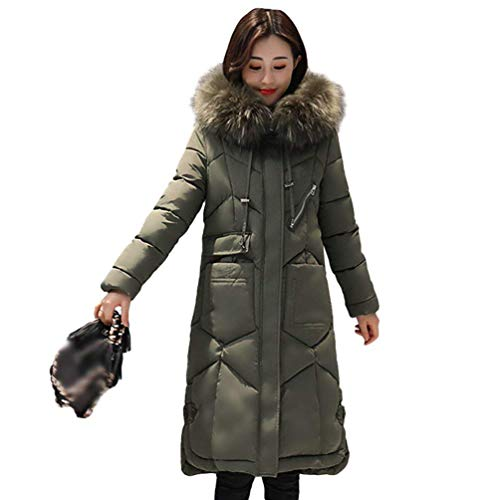 Mujer Acolchado Elegante Pluma Espesar Parka Invierno Fashion Manga Larga Abrigo Capucha Caliente Casuales Largos De Slim Con Retro Plumas Armygreen Outdoor Piel Fit vq5qzRx