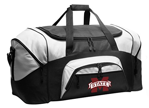 (Large MSU Bulldogs Duffel Bag Mississippi State University Suitcase or Gym Bag for Men Or Her )