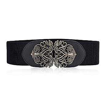 ElectomaniaWomen's leather stretch belt dress retro stretch wide belt girth