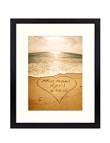 DecorArts - Sand Writing -Personalized Picture Print with Mat(UNFRAMED), Includes names and the Special Date - Perfect Gift for Wedding, Anniversary,Birthday, any Holidays 10