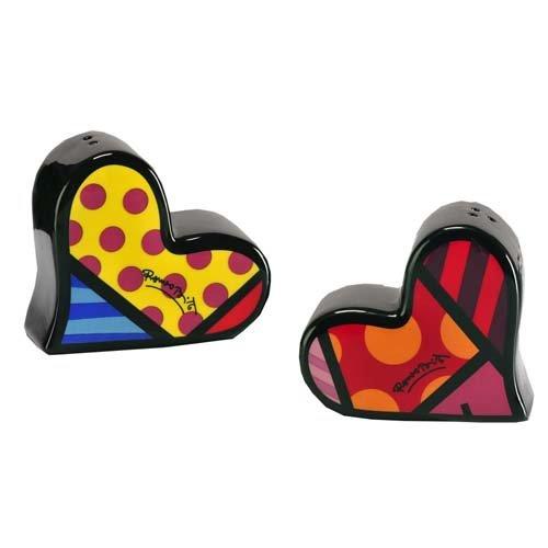 (Gift Craft Romero Britto Hearts Pop Art Ceramic Kitchen Salt and Pepper)