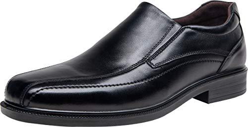 JOUSEN Men's Dress Shoes Leather Slip On Loafers Lightweight Formal Shoes (9,Black)