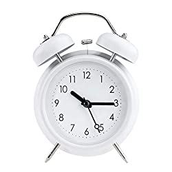 PILIFE 5 Twin Bell Alarm Clock with Backlight, Loud Alarm to Wake You Up, Silent Working Perfect for Bedroom and Work(White)