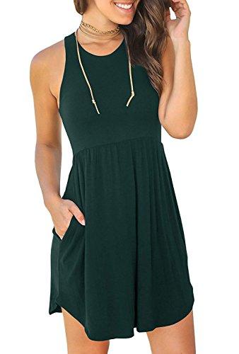 Iwollence Sans Manches Femmes / Manches Longues Robes Amples Simples Robe Courte Casual Avec Des Poches 14 Vert Foncé
