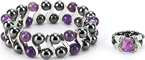 Elegant Womens Hematite Magnetic Therapy & Healing Stone Bracelet & Ring Set Pain Relief for Arthritis and Carpal Tunnel (Amethyst)
