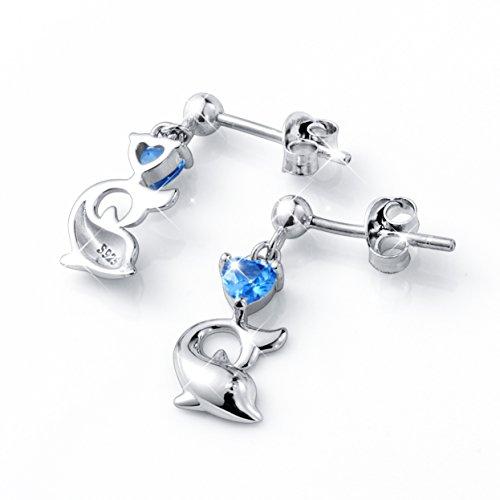 LINLIN FINE JEWELRY 925 Sterling Silver Cubic Zirconia Blue Cz Heart Dolphin Stud Earrings for Women by LINLIN FINE JEWELRY (Image #3)