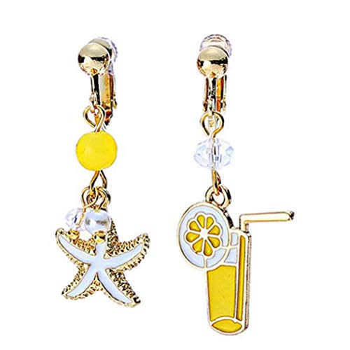 (Handcrafted Asymmetry Star Yellow Lemon Cup Clip on Earrings for Grils Teen)