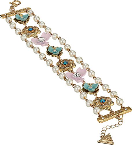 GUESS Women's Flower Line Bracelet with Pearl Accents Gold/Blue One Size