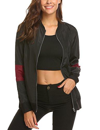 Cropped Jacket & Silk Skirt (Unibelle Women's Zip Up Striped Satin Baseball Bomber Jacket Coat with Pockets)