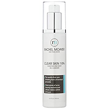 RM Clear Skin Acne Face Body Gel Cleanser with Benzoyl Peroxide 10 The world s first non-irritating form of benzoyl peroxide, dermataligist tested. Clears pores of acne causing bacteria and cellula
