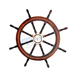 42 Polystone Finish Large Pirate's Nautical Ship Wheel With Heavy Brass Porthole Time's Clock | Maritime Ocean Navigational Decor Gift | Nagina International