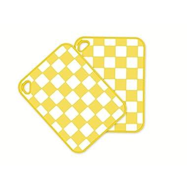 InKitchen Checker Cutting Board, Yellow, Set of 2