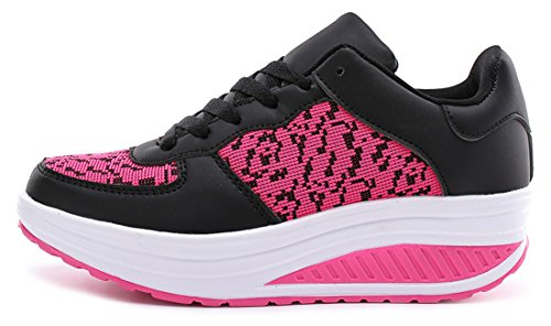 NEWZCERS Women's Track & Field Shoes Schwarz rose rot CgQymE4