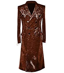 Slim Sequin Long Double Breasted Suit Coats