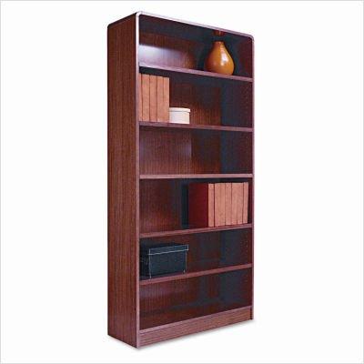 (Alera Radius Corner Bookcase, Finished Back, Wood Veneer, 6-Shelf, 36 W by 12 D by 72 H, Medium)
