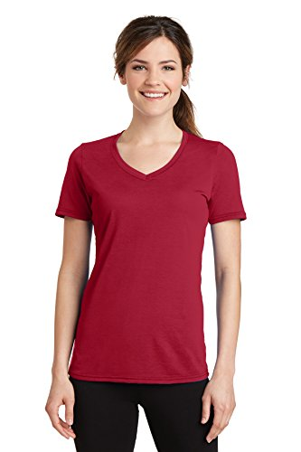 Port & Company Women's Essential Blended Performance V-Neck Tee_Red_S