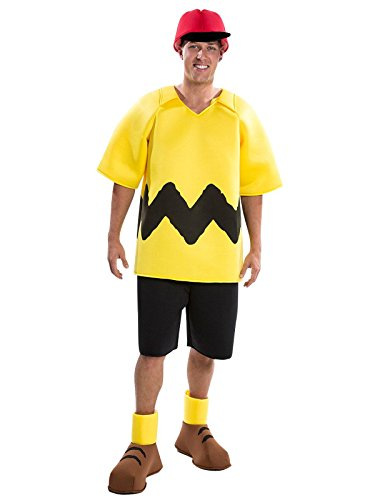 Adult Charlie Brown Costumes (Palamon Men's Peanuts Charlie Brown Costume, Yellow, Large)