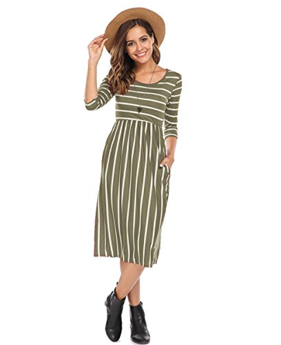 Halife Women Summer Striped Sexy Dress 3/4 Sleeve Casual Knee Length Dress Army Green,XL