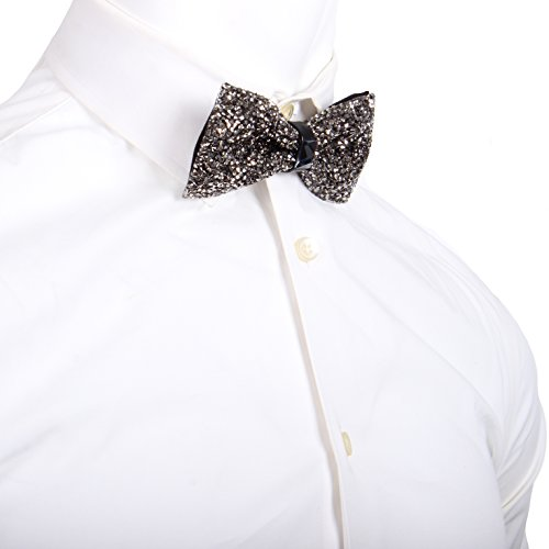 Enimay Men's Fancy Formal Dress Event Prom Dance Wedding Bling Shinny Bow Tie Graphite One Size