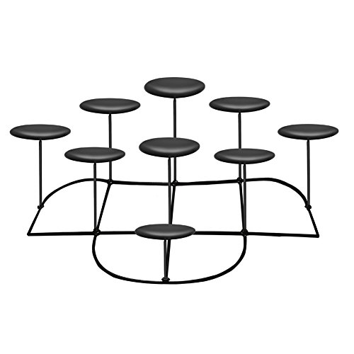 smtyle DIY 9 Candle Candelabra Decorative Black Iron Pillar Candle Holders For Fireplace Decorat ...