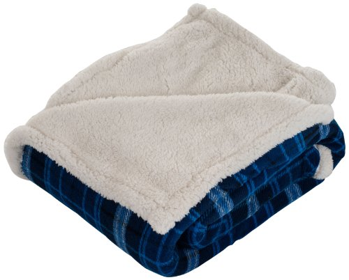 Lavish Home Throw Blanket, Fleece/Sherpa, Blue (House Sherpa)