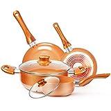 Cookware-Set Nonstick Pots and Pans-Set Copper Pan - KUTIME 6pcs Cookware Set Non-stick Frying Pan Ceramic Coating…