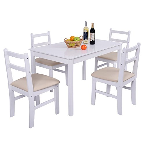 Set Solid Pine Coffee Table (Dining Table Set 4 Upholstered PU Leather Cover Thick Cushion Chairs Solid Pine Wood Construction Breakfast Lunch Dinner Dinning Room Kitchen Home Restaurant Coffee Shop Décor Furniture Modern Look)